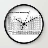 periodic table Wall Clocks featuring Periodic Table of the Elements by Fabian Bross