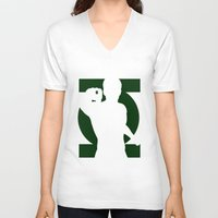 green lantern V-neck T-shirts featuring Green Lantern by Sport_Designs