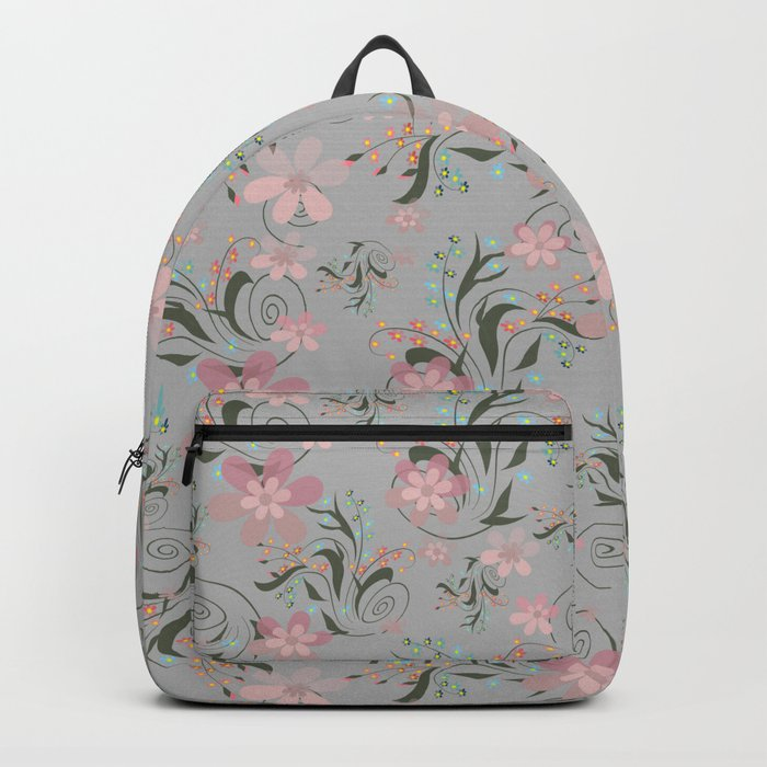 Retro . Pink flowers on grey background . Backpack