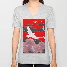 WHITE BIRDS IN FLIGHT RED-GREY SKY ABSTRACT Unisex V-Neck