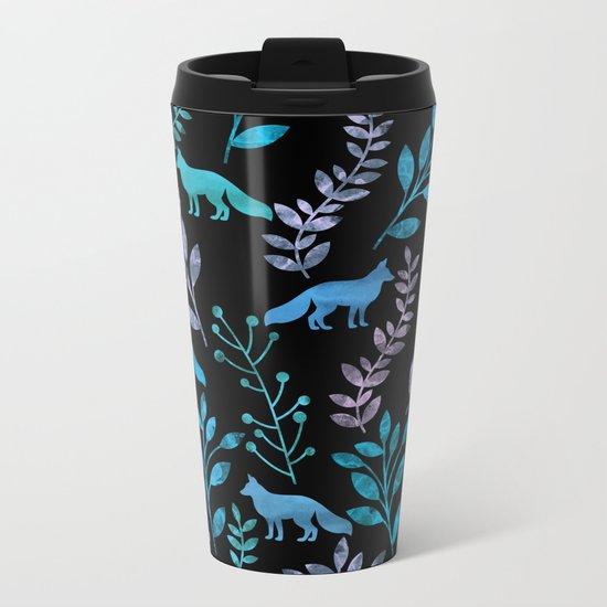 Watercolor Floral & Fox IV Metal Travel Mug