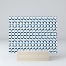 Geometric Flower Cross Stitch Appearance - Royal Blue On White Mini Art Print