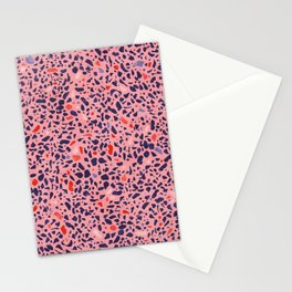 Terrazzo pink red blue Stationery Cards