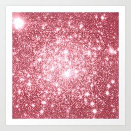 Pink Sparkle Stars Art Print