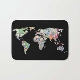 world currency map Bath Mat