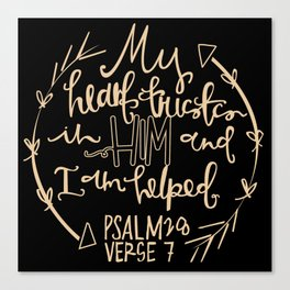 Psalm 28 Hand Lettering Canvas Print