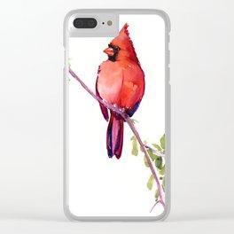 Cardinal Bird Vintage Style Red Cardinal design Clear iPhone Case