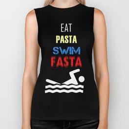 Eat Pasta Swim Fasta Funny Swimmer Gift Biker Tank