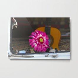 Flower in a Hippie Bus Volkswagen Microbus Samba Metal Print