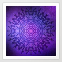 Dark Mandala on Purple, Pink and Navy Art Print