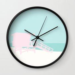 Minimal Lifeguard Tower - Turquoise Coast Wall Clock