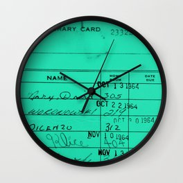 LIbrary Card 23322 Turquoise Wall Clock
