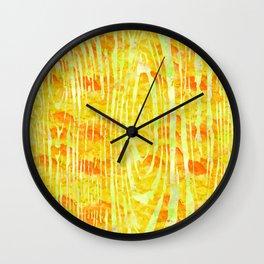 Yellow Wood Print Wall Clock