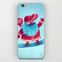 snowboard iPhone & iPod Skins featuring Snowboard Santa by Lime