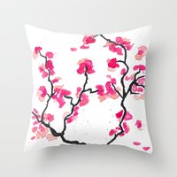 cherry blossoms Throw Pillows featuring Cherry Blossoms by Amaya