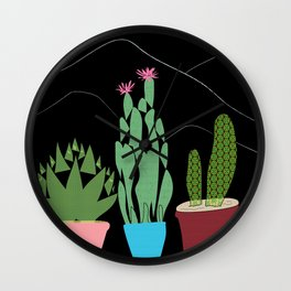 Contemporary Cacti Vector Art Wall Clock