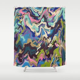 Techno Wave Shower Curtain