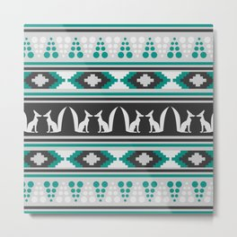 Ethnic pattern with foxes Metal Print
