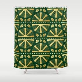 Emerald Green Art Deco Fan Shower Curtain