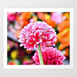 Pink Flowers Airbrush Artwork Art Print