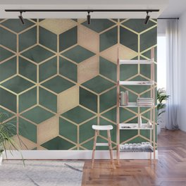 Gold Emerald green Gradient Cube Art print Wall Mural