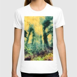 abstract misty forest painting hvhdtop T-shirt