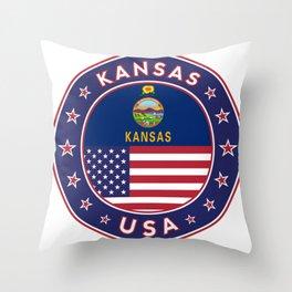 Kansas, Kansas t-shirt, Kansas sticker, circle, Kansas flag, white bg Throw Pillow