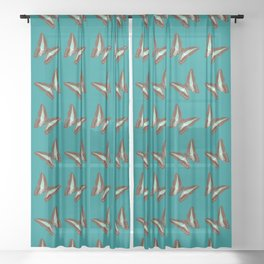 Turquoise & Brown Butterfly Pattern Sheer Curtain