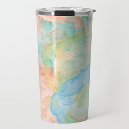 Watercolor Abstract Art of Colorful Flowers Including vibrant red,blue,and yellow Travel Mug