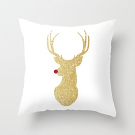 Rudolph The Red-Nosed Reindeer | Gold Glitter Throw Pillow