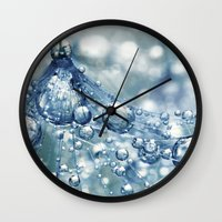 mandie manzano Wall Clocks featuring Sparkling Dandy in Blue by Sharon Johnstone