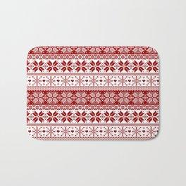 Red Winter Fair Isle Pattern Bath Mat