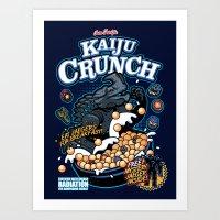 kaiju Art Prints featuring Kaiju Crunch by Matt Dearden