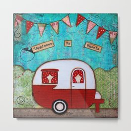 Vintage Camper Red Metal Print