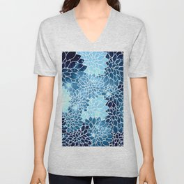 Space Dahlias Blue Ice Unisex V-Neck
