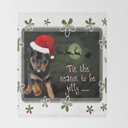 Tis The Season To Be Jolly Cute Rottweiler Christmas Throw Blanket