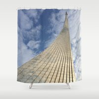 soviet Shower Curtains featuring Road to the stars. by Mikhail Zhirnov