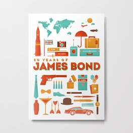 James Bond 50 Years  Metal Print