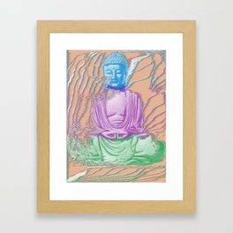 Glitch Buddha Framed Art Print