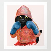 boxing Art Prints featuring Boxing Cat 2  by Tummeow