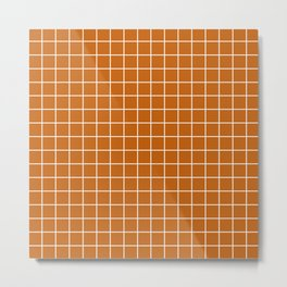 Alloy orange - brown color -  White Lines Grid Pattern Metal Print