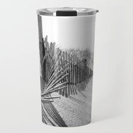 High Key Beach Sand Dunes and Fencing, Coastal Black and White  Landscape Photo Travel Mug