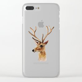 deer watercolor painting Clear iPhone Case