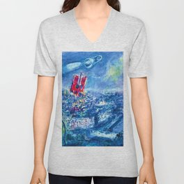 View of Paris by Marc Chagall Unisex V-Neck