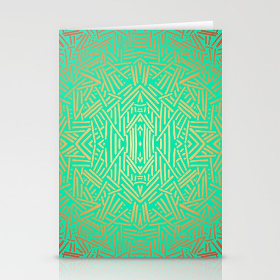 Radiate (Yellow/Ochre Teal- non metallic) Stationery Cards
