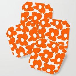 Orange Retro Flowers White Background #decor #society6 #buyart Coaster