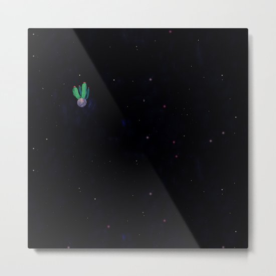 green cactu in the space Metal Print