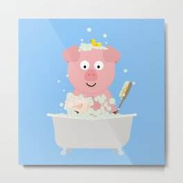 Pig in Bathtube with bubbles Metal Print
