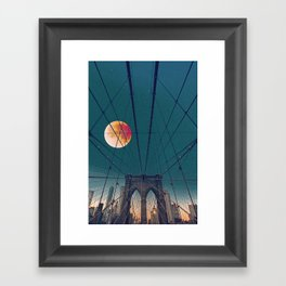 Blood Moon over the Brooklyn Bridge and New York City Skyline Framed Art Print