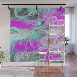 Pink Magenta Mint Teal Green Abstract Wall Mural